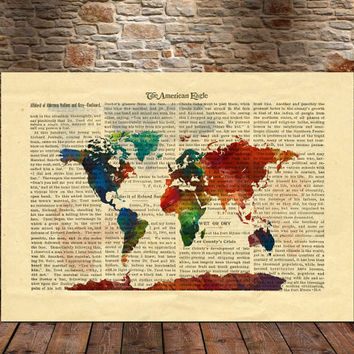 Watercolor World Map Art Prit, Red Watercolor World Map Wall Art, Splash World Map (78)