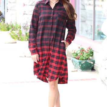 Long Plaid Flannel Tunic Dress {Red+Black Mix}
