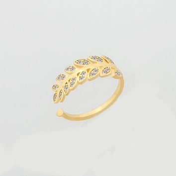 Dainty Leaf Ring For Women Wedding Jewelry Sparkling Crystal Zircon Rose Gold Color Anel Adjustable Promise Rings For Couples
