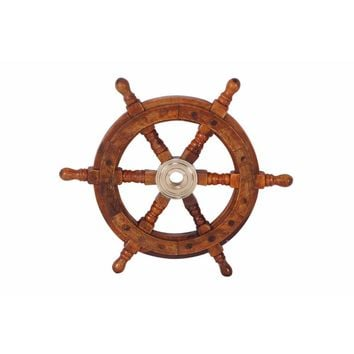 Traditional Sheesham Wood and Brass Ship Wheel, Brown