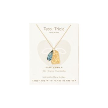 Tess and Tricia September Birthstone Penta + Gem Necklace