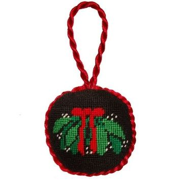 Mistletoe Needlepoint Christmas Ornament in Black by Smathers & Branson