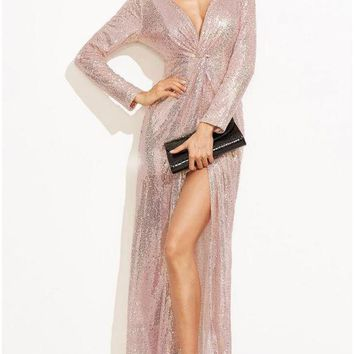 Chicloth Sparkling Deep V Twist Knotted High Split Long Sleeve Maxi Gown One-Piece Dress Women Sexy Sequined