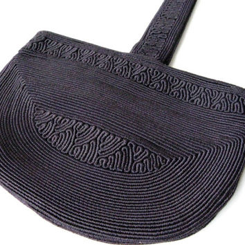 Vintage Navy Blue Corde Handbag, Wristlet, Purse