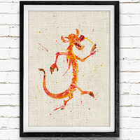 Mulan Mushu Watercolor Art Print, Baby Room Nursery Wall Art, Disney Home Decor, Not Framed, Buy 2 Get 1 Free!