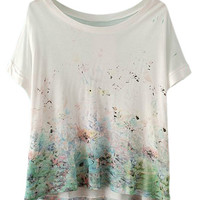ROMWE Floral Print White Loose T-shirt