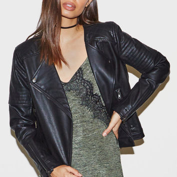 Kendall & Kylie Quilted Faux Leather Biker Jacket at PacSun.com