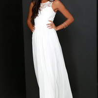 So Far Gown Ivory Lace Maxi Dress