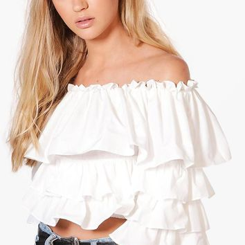 Abigail Off The Shoulder Ruffle Top | Boohoo