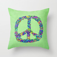 Peace Out Throw Pillow by Shawn King