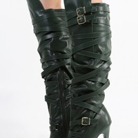 Criss Cross Strappy Knee High Boots | MakeMeChic.com