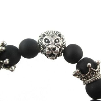 Realistic Lion Face and Crown Charm Stretchy Black Beaded Bracelet