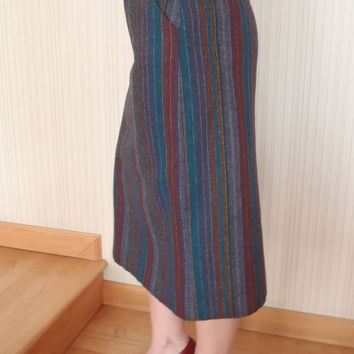 Wool Pencil Skirt / Teal Gold Red Stripes/ Mad Med Style / Vintage Clothing by Feisty Farmers Wife
