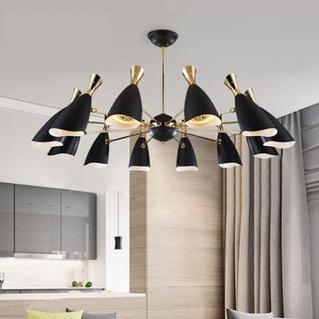 vintage pendant lights kitchen dining room luminaire  white/black color lampshade loft style suspendu pully retro pendant lamp