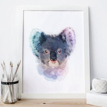 Koala print, koala Printable, koala decor, koala Watercolor koala nursery koala Painting, koala Wall Art koala woodland nursery animal art