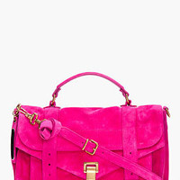Proenza Schouler Ps1 Medium Pink Suede Satchel for Women | SSENSE
