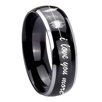 10MM Dome Glossy Black Middle Sound Wave i love you more more Two Tone Tungsten Men's Ring