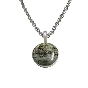 Old Style World Map Pendant Necklace
