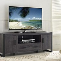 "60"" Charcoal Grey Wood TV Stand Console by Walker Edison"