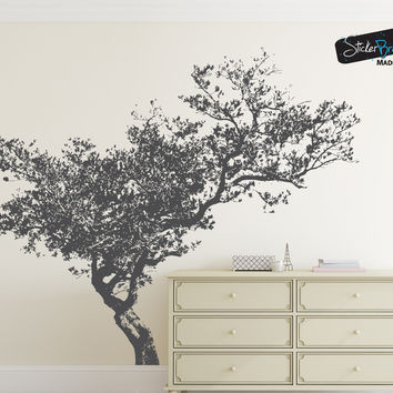 Vinyl Wall Decal Sticker Leaning Tree #848