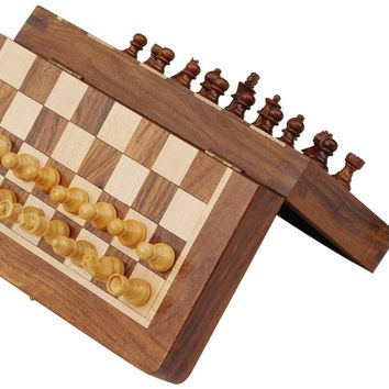 Magnetic Handmade Chess Set Foldable Game In Wood, Brown And Beige By Benzara
