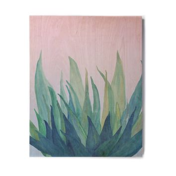 "Viviana Gonzalez ""Botanical Vibes 10"" Pink Green Watercolor Birchwood Wall Art"