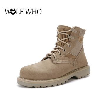 WOLF WHO Men's Military Desert Tactical Ankle Boots Unisex Winter Boots Breathable Com
