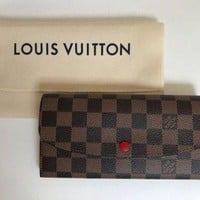 Louis Vuitton Women's Damier Ebene Emilie Wallet BRAND NEW WITH TAGS