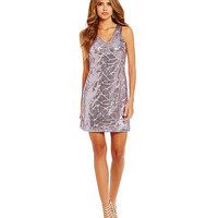 Gianni Bini Deidra Abstract-Print Sequin Shift Dress | Dillards