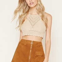 Cropped Crochet Halter Top | Forever 21 - 2000171017