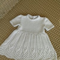 Ready to ship ivory dress for 1 years little girl dress knitting
