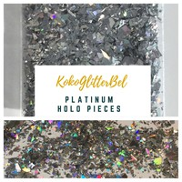 Holographic Glitter Pieces- Platinum Silver