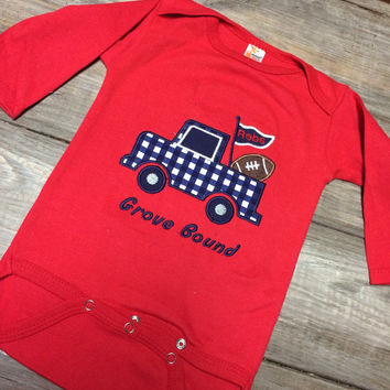 """Ole Miss """"Grove Bound"""" Boys Red Onesuit"""