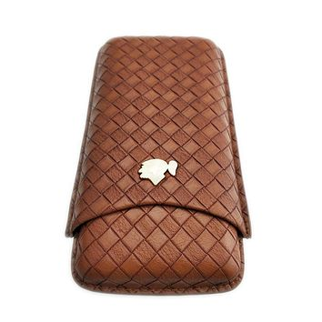COHIBA Luxury Travel Leather Cigar Case Humidor Holder 3 Tubes Humidor Box with Sharp cutter Travel Accessories Pocket