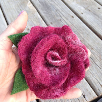 Wet Felt Hair Clip, Handmade Flower Pin, Rose Barrette, Scarf Clip, Home Decor: HANDMADE FIBER ART