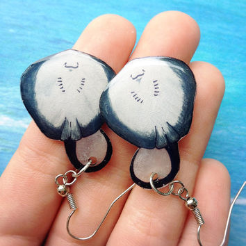 Sting Ray Underside Charm Earrings