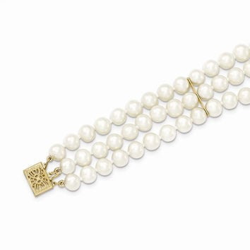 14k Gold 3 Strand Cultured Pearl Bracelet