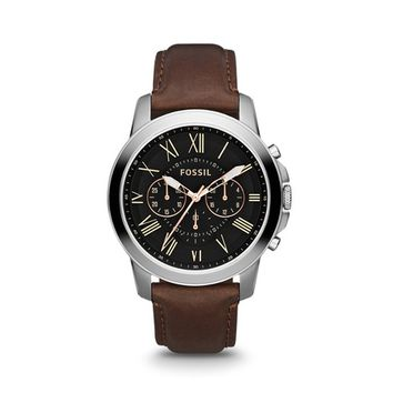 FS4813P Grant Chronograph Brown Leather Watch by Fossil for Men - 1 Pc Watch
