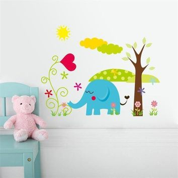 Candy Color Jungle Wild Animals Cartoon Wall Stickers