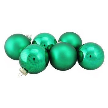 "6-Piece Shiny and Matte Green Glass Ball Christmas Ornament Set 3.25"" (80mm)"