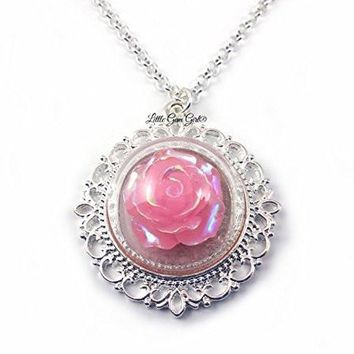 Soft Pink Rose Glass Dome Necklace 20 in Fairy Tale Beauty and the Beast Wedding Jewelry