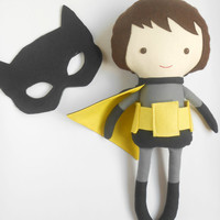 Superhero doll inspired by Batman boy doll gift for Batman fans rag dolls for boys toys for boys custom doll can be personalized