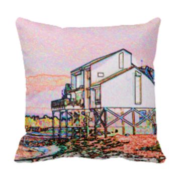 pink themed split house sketch beach scene pillows