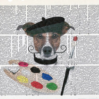 Artist Dog Dictionary Art Print on Upcycle Vintage Page Book Print Art Print Dictionary Print Collage Print