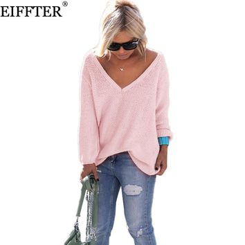 EIFFTER Spring Autumn Women Sweater New Fashion Ladies V-neck Long Sleeve Loose Solid Knitted Pullovers Sweaters 0069