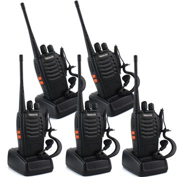 Walkie-Talkies With Integrated Flashlight And Earpiece (5 Pack) Retevis H-777