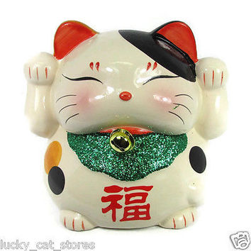 unique ceramic Feng Shui MANEKI NEKO  2 Paws UP eyes closed piggy bank new