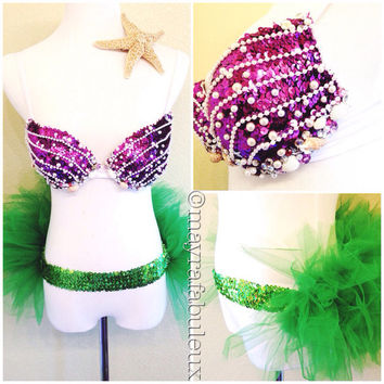 The Little Mermaid Inspired Rave Bra and Tutu with Free starfish hair clip - Mayrafabuleux Original Design