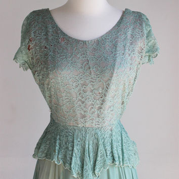 CLEARANCE: Vintage 1930s SeaFoam Green Dress