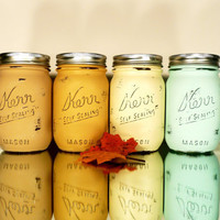Fall and Autumn Home /Office / Dorm Decor - Pismo - Painted and Distressed Shabby Chic Mason Jar Vases